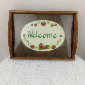 Vintage Wood Glass Serving Tray Welcome Cross Stit